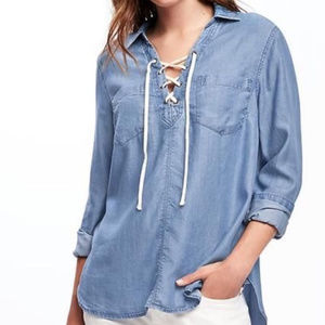 Old Navy Blue Chambray Denim Lace Up Shirt